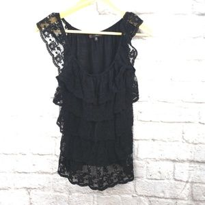 Heartsoul Women's Black Tiered Lace Sleeveless
